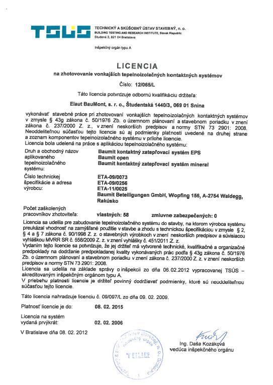 Licencia na zatepľovanie Baumit