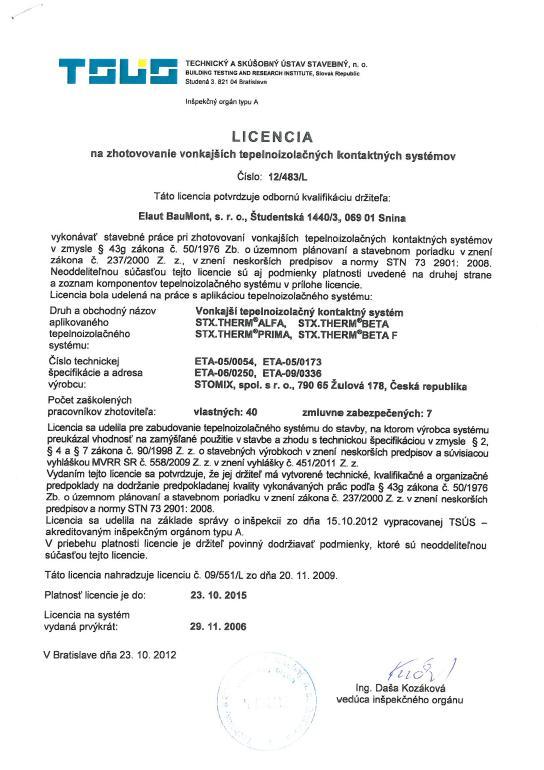 Licencia na zatepľovanie Stomix